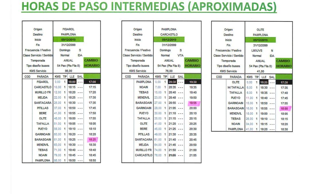 9 Dic-Cambio horario Autobuses de Línea